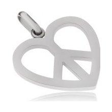 Oceľový prívesok, symbol Peace v kontúre srdca S52.15