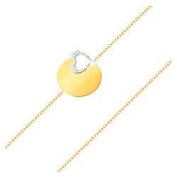 f5075cae0 Šperky eshop zlatý náramok jemná retiazka, lesklý plochý kruh, kontúra srdca  z bieleho zlata