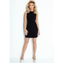b35eaa469579 Čierne dámske šaty s prekladmi v páse 103-3 Numoco čierna