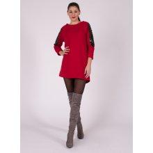 eaee470cff95 Červené šaty s flitrami na rukávoch