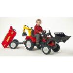 FALK Šliapací traktor 2081Z Ranch Trac s nakladačom, vlečkou Dumper a rýpadlom červený
