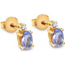 iZlato Design zlaté náušnice s tanzanitom a diamantmi Aurea BSBR037TN 94d7a3a35bd