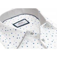 c0828d6cdefe Pánska biela SLIM košeľa so šedým vzorom BEVA dlhý rukáv