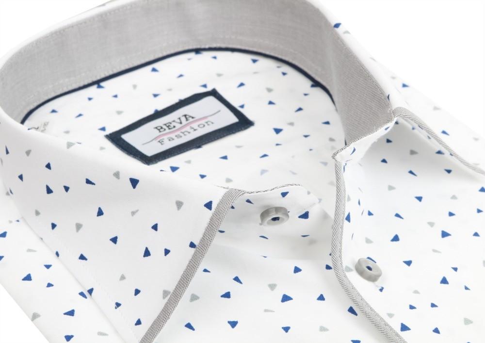 fc0fa821a88a Pánska košeľa Pánska biela SLIM košeľa so šedým vzorom BEVA dlhý ...