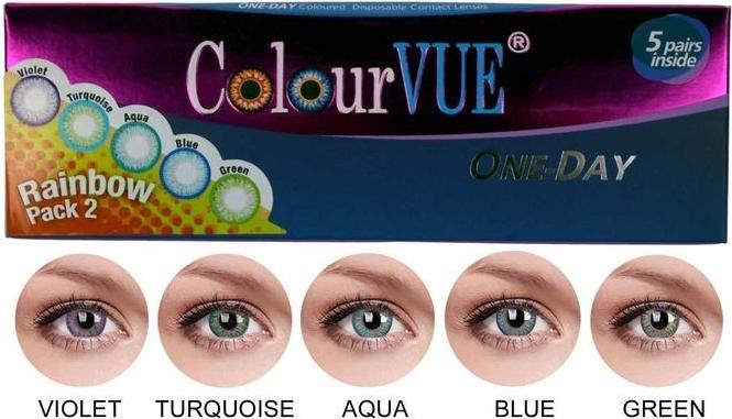 26f4e44c2 MaxVue Vision ColorVue Trublends One-Day Rainbow Pack2 farebné šošovky  nedioptrické 5 párov
