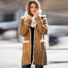 Dámský kabát vo vzhľade ovčej kože karamelová