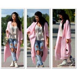 Fashionweek Luxusné pletené svetre ala vesta kabát Anna Svetlo Ružová 617b40b9e60