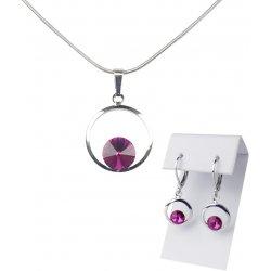 Swarovski postriebrený náhrdelník a náušnice so kryštálom vo farbe fuchsia  4746 7a085ae0b2e