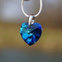 Swarovski Elements Strieborný prívesok modré Srdce 14mm LSW061P b8e2995141f