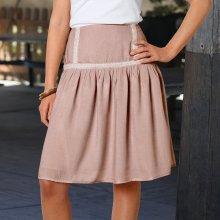 Blancheporte dámska sukňa s macramé pruhom hnedosivá