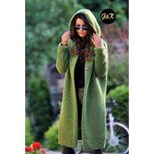 f147b3fa425d Fashionweek Dámsky exclusive elegantný farebný sveter kabát s kapucňou JK5    HONEY Zelená