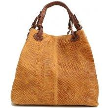 28a0724ea1 Talianska veľká kožená kabelka Vanda k denimu medovo hnedá