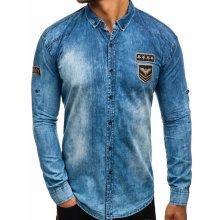 19a11e04c3d4 Modrá pánska riflová košeľa s dlhými rukávmi Bolf 0992-1