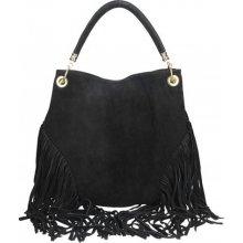 fbd3993552 Made In Italy Talianska kožená kabelka v úprave semiš 5080 čierna