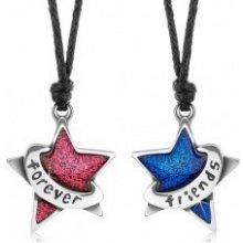 Sada šnúrkových náhrdelníkov, trblietavá ružová a modrá hviezda, forever friends S56.09