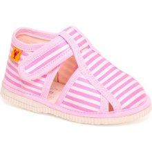 papuče ružový pásik Detská