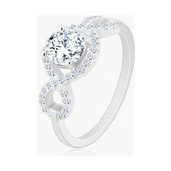 5e6e9447c Šperky eshop Zásnubný prsteň striebro 925 zirkónové vlnky okrúhly brúsený  zirkón R26.20