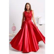 93a1f6a06f02 Červené spoločenské šaty so saténovou sukňou a rozparkom