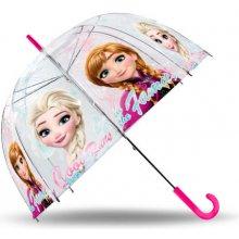 EUROSWAN Priehľadný dáždnik Ľadové Kráľovstvo Anna a Elsa POE, priemer 70 cm