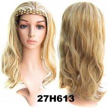 Poloparochňa 3/4 parochňa s čelenkou z pletených vlasov 27H613 (melír karamelovej a beach blond)