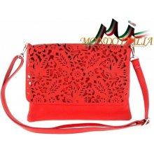 Made In Italy kožená kabelka na rameno 546 červená d28186488b0