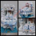 Darčeky-Bambi Plienková torta kočík modrá s papučkami