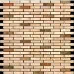 Premium Mosaic Stone Mozaika krémová-oranžová tehly 1x4 cm - STMOS1040CRW