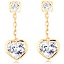 6ff72d903 Šperky eshop náušnice v žltom zlate visiace číre srdce s lesklým lemom  retiazka GG107.01