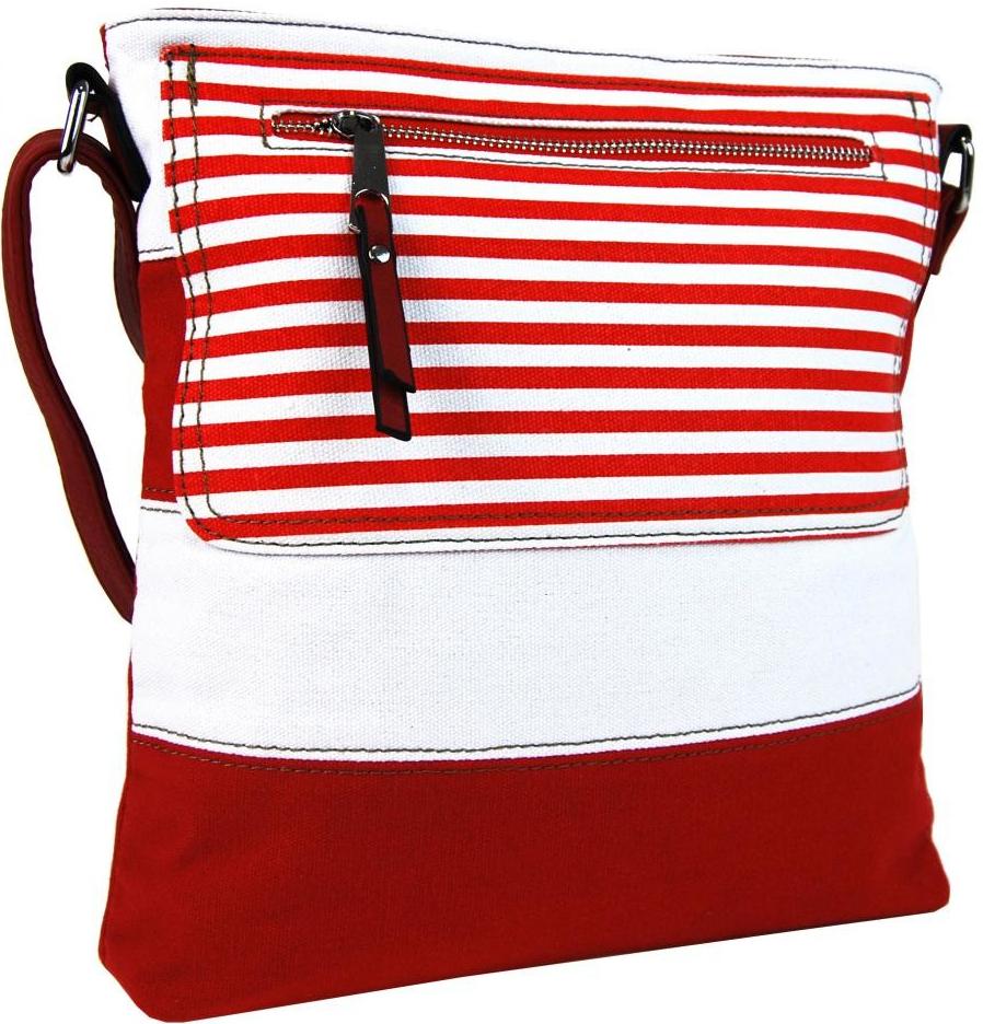 Kabelka textilná crossbody dámska kabelka B508 červeno-biela ... 6932e56b693