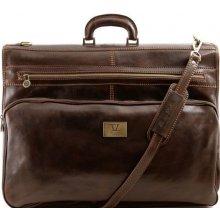Tuscany Leather kožený cestovný obal na oblek TL3056 tmavá hnedá