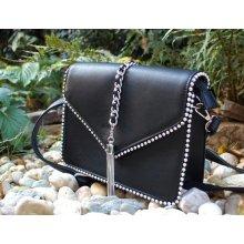 kabelka čierna strieborná reťaz zrkadlové guličky crossbody d221568b6a0