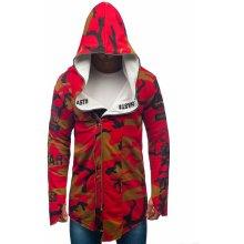 BOLF 0796-1 pánska mikina s kapucňou a potlačou Maskáčovo-červená 8914fb1e16