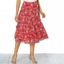 Blancheporte volániková sukňa s potlačou koralová biela