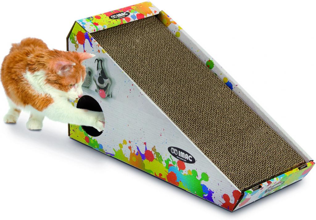 Argi Kartonové škrabadlo pro kočky s hračkou a šantou - 48 x 27 x 20 cm d686be7288a