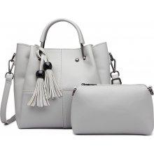 57c65e6cc4 Miss Lulu luxusná dizajnová kabelka so strapcami svetlo-sivá