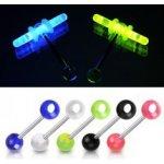Piercing do jazyka farebné guľôčky otvor na svietiace tyčinky Y14.12 Modrá c57842a5a16