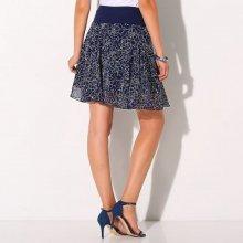 Blancheporte rozšírená sukňa s potlačou kvetín námmornická modrá