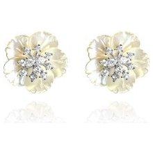 c7b59d806 Minet veľké biele strieborné náušnice kvety so zirkónmi JMAS5022WE00