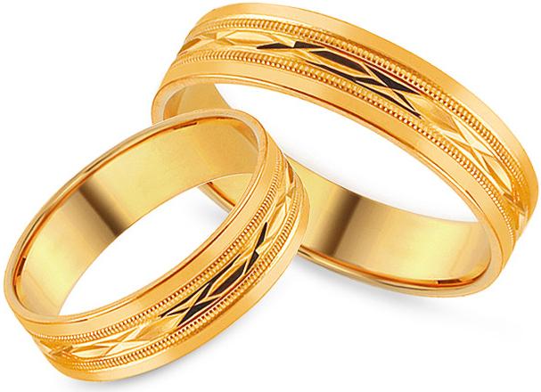 bd9521687 iZlato Forever Zlaté svadobné obrúčky s gravírovaným vzorom, šírka 5 mm  IZOB113