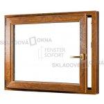 SKLADOVE-OKNA.sk - Jednokrídlové plastové okno PREMIUM, otváravo - sklopné ľavé - 1100 x 1000 mm, barva biela/zlatý dub