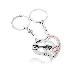 3c0dbf35b Prívesok na kľúče Oceľové pre dvojicu strieborná farba dve polovice srdca  šíp nápis Z46.09