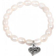 451827f74 JwL Luxury Pearls jemný náramok z pravých perál s kovovým srdiečkom JL0417
