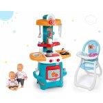 Smoby Set kuchynka Cooky s krídelkami jedálenská stolička Frozen a bábika Baby Nurse Zlatá edícia