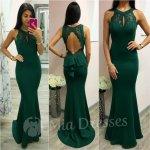8709d4576d54 Smaragdové spoločenské šaty s odhaleným chrbtom