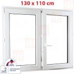 ALUPLAST Plastové okno 130 x 110 cm (1300 x 1100 mm) biele dvojkrídlové bez stĺpika (štulp) pr