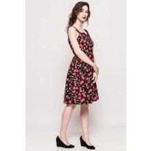Čierne midi letné šaty s gombíkmi a vzorom čerešní f2bf3fe5bd0