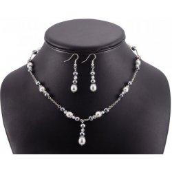 262c31273 SK Súprava náhrdelník a náušnice sivé a strieborné riečne perly a kryštál  T403