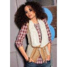 Vero Moda Dámska kožušinová vesta béžová