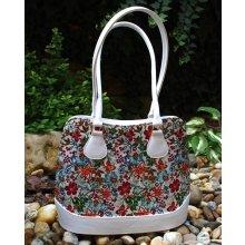 kabelka biela strieborná červené modré mint zelené kvety dlhšie rúčky 2270a7e4e60