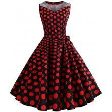 Retro šaty 1950 s bodkami (SWING1 style) červené čierne